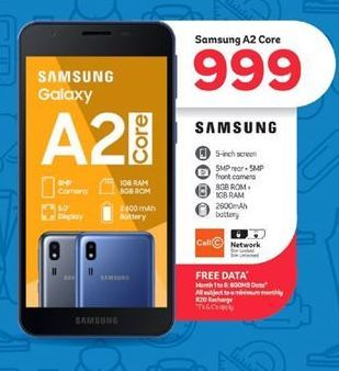 Samsung A2 Core offer at R 999