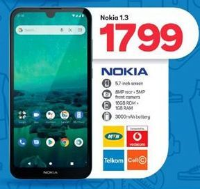 Nokia 1.3 offer at R 1799