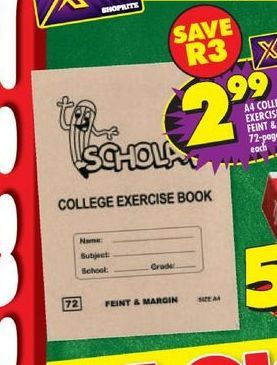 Exercise Book offers at R 2,99