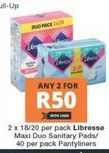 Libresse Panty Liners 2 offer at R 50