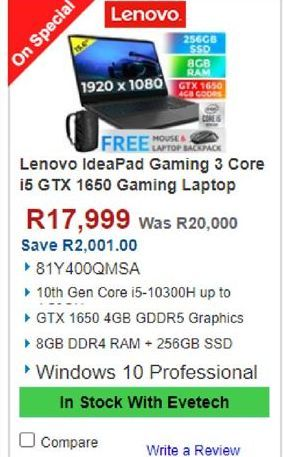 Lenovo Laptop offers at R 17999