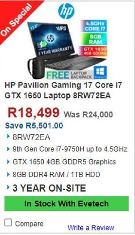 HP laptop offers at R 18499