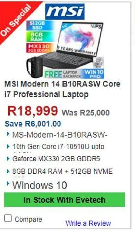 MSI Laptop offers at R 18999