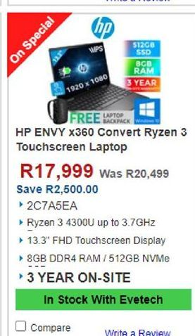 HP laptop offers at R 17999