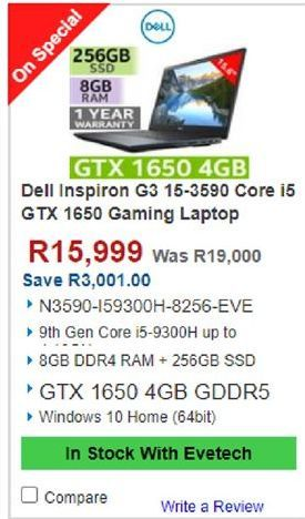 Dell Gaming Laptop offers at R 15999
