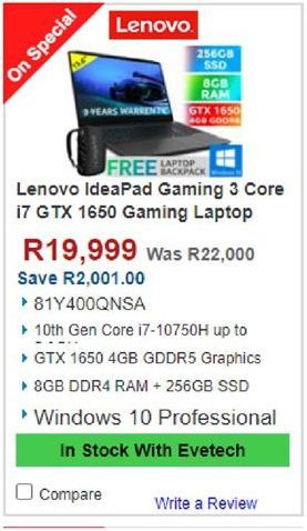 Lenovo Gaming Laptop offers at