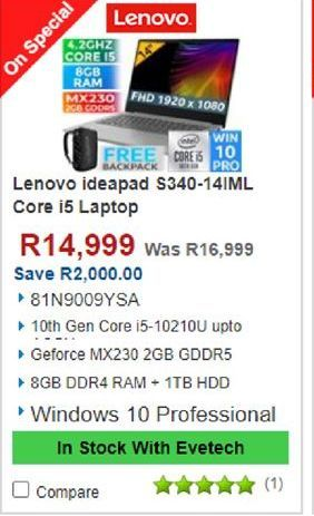 Lenovo Laptop offers at R 14999