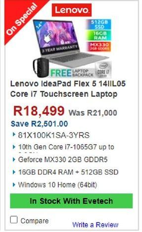 Lenovo Laptop offers at R 18499