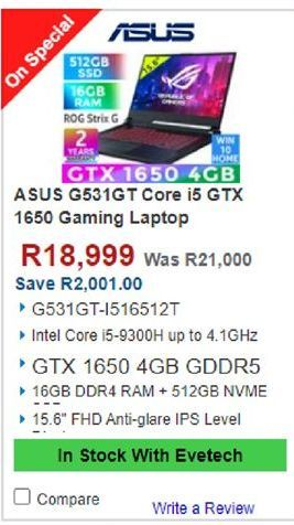 Asus Laptop offers at R 18999