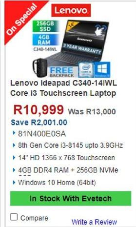 Lenovo Laptop offers at R 10999