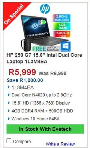 HP laptop offers at R 5999