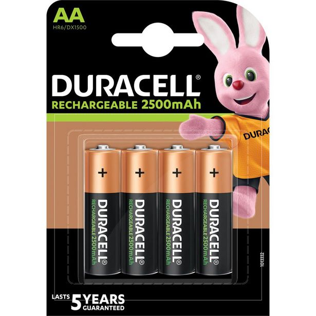 Duracell Rechargeable AA 2500mAh Batteries - 4 Pack offer at R 179