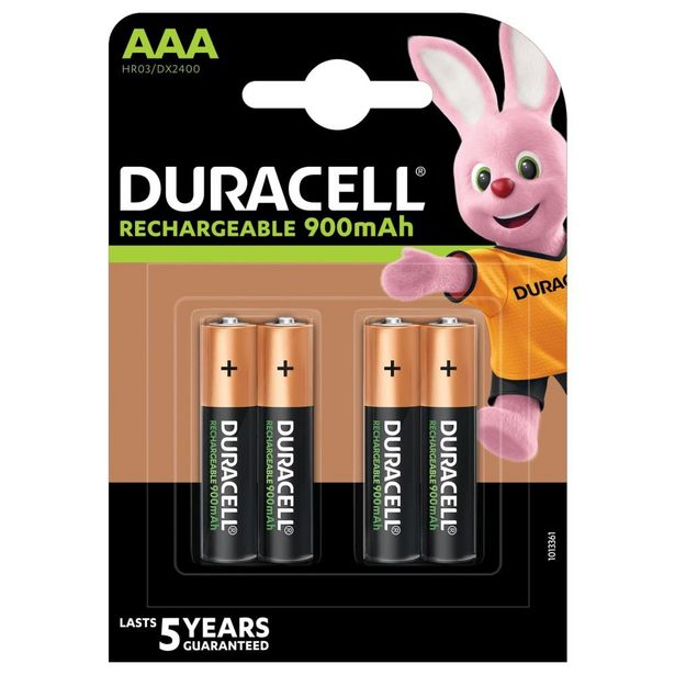 Duracell Rechargeable AAA 900mAh Batteries - 4 Pack offer at R 179