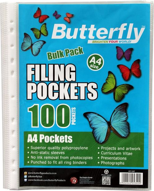 Butterfly Filing Pockets A4 100's offer at R 48