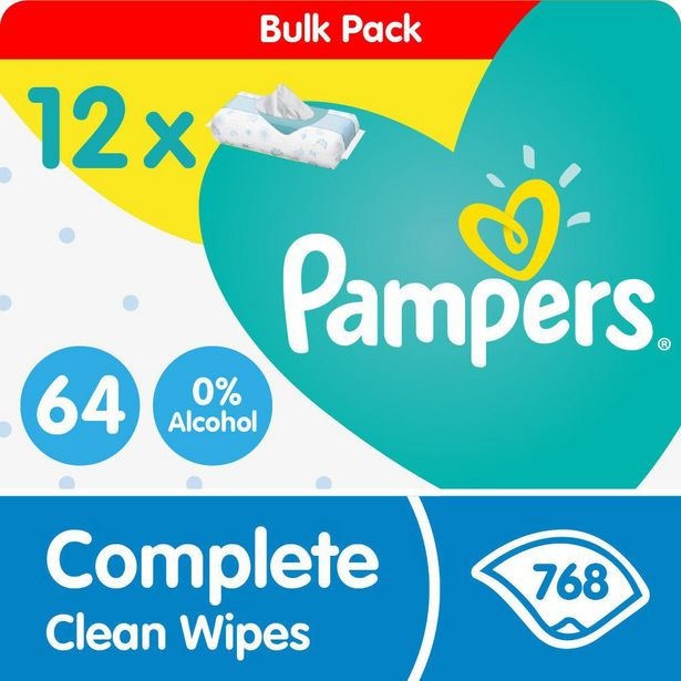 Pampers Complete Clean Bulk Wipes - 12 x 64 - 768 Wipes - Bulk Pack offer at R 289