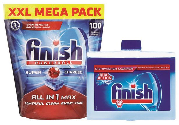 Finish All In One Auto Dishwashing Tablets 100's + Machine Cleaner 250ml offer at R 319