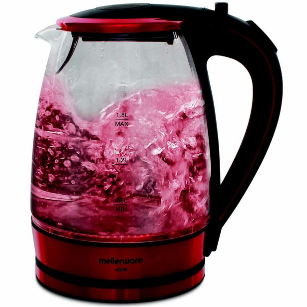Mellerware Kettle 360 Degree Cordless Glass Red 1.8L 2200W offer at R 299