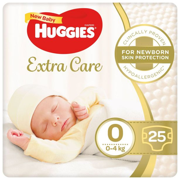 Huggies Extra Care Nappies Size 0 25s offers at R 69