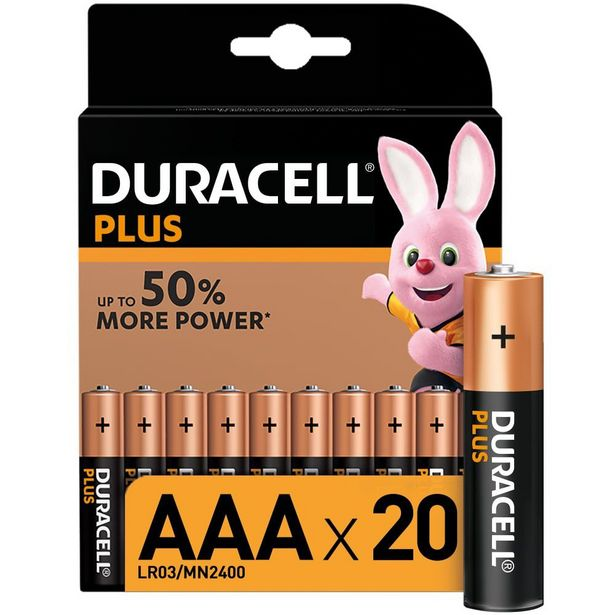 Duracell Plus  Alkaline AAA Batteries - 20 Pack offer at R 199