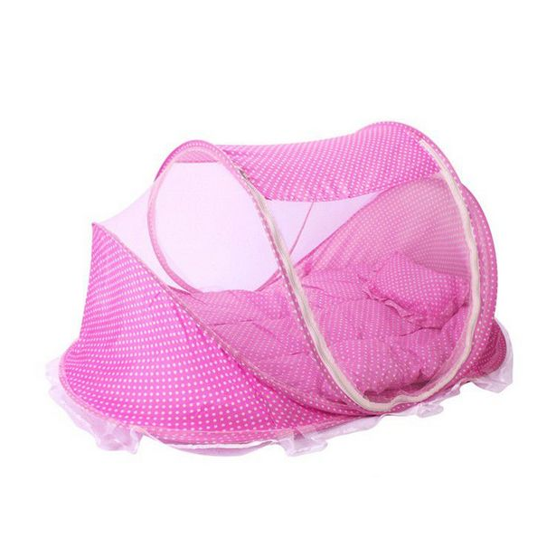 Folding Children Mosquito Nets Baby Bed - Pink offer at R 188