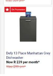 Defy Dishwasher  offer at