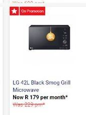 LG Black Smog Grill Microwave  offer at