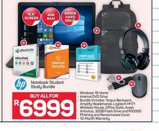 HP Notebook Student Bundle offer at R 6999