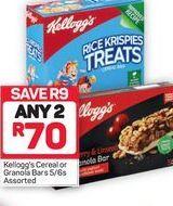 Kellogg's Cereal Bar 2 offer at R 70