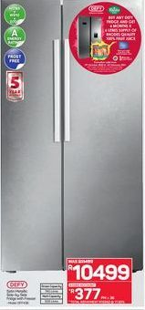 Defy Side-By-Side Fridge offer at R 10499