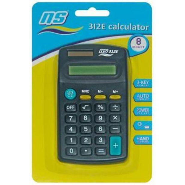 NS-312E CALCULATOR 8 DIGIT DUAL POWER offer at R 26,9
