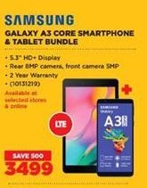 Samsung Galaxy A3 Smartphone & Tablet Bundle offer at R 3499