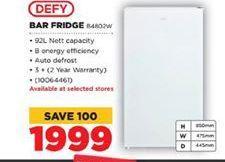 Defy Bar Fridge  offers at R 1999