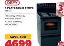 Defy 4 Plate Solid Stove offer at R 4699