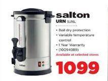 Salton URN offer at R 1099