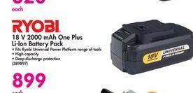 Ryobi Battery Pack offer at R 899
