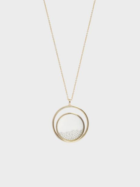 Pearl Finish Stone Floating Locket Matinee Necklace offer at R 33