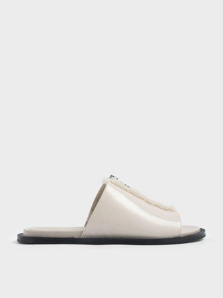 Wrinkled Patent Frayed Zip Front Slide Sandals offers at R 23