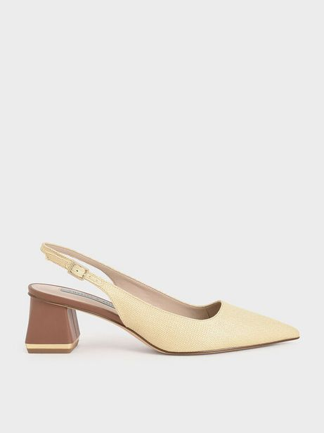 Raffia Metallic Accent Slingback Court Shoes offers at R 49