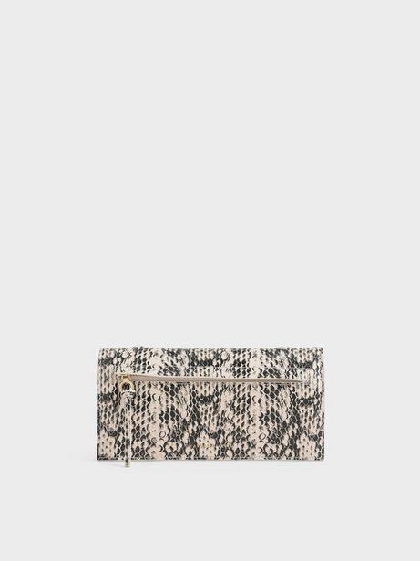 Mini Snake Print Front Zip Long Wallet offers at R 23