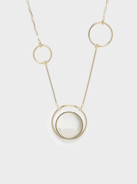 Pearl Finish Stone Ring Detail Floating Locket Matinee Necklace offers at R 33