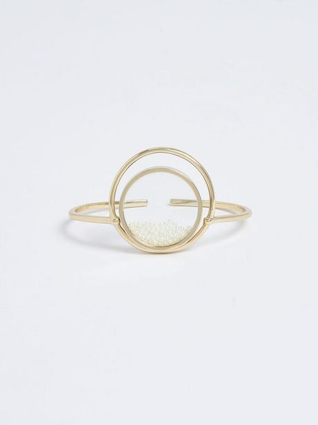 Pearl Finish Stone Floating Locket Cuff Bracelet offer at R 29