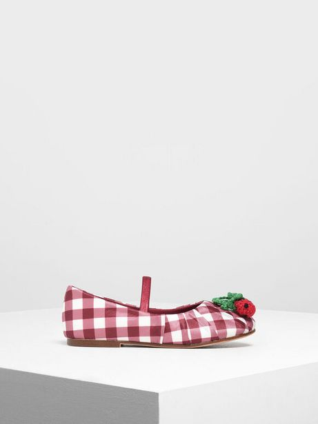 Girls' Cherry Embellished Check Print Mary Janes offers at R 23