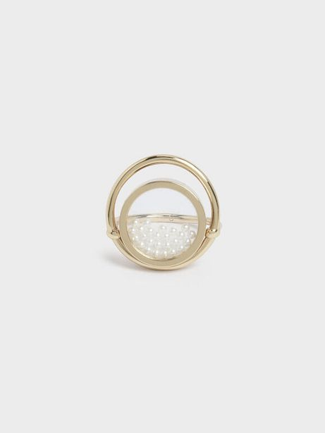 Pearl Finish Stone Floating Locket Ring offer at R 19
