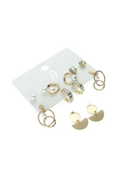 Lynn Pearl And Diamante 6 Pack Earrings offer at R 70