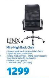 Linx Miro High Back Chair offer at R 1299