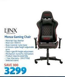 Linx Monza Gaming Chair offer at R 3299