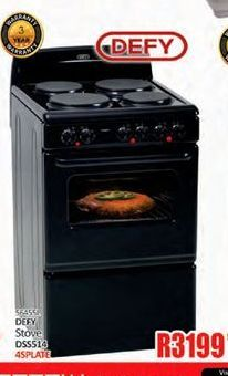 Defy 4 Plate Stove offer at R 3199