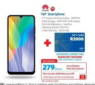 Huawei Y6p Smartphone  offer at R 279