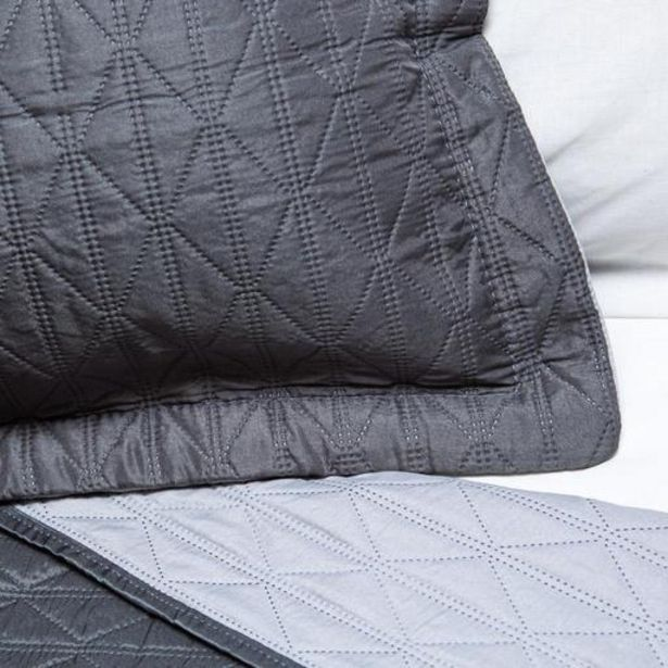 Microfibre Diamond Design Reversible Quilts - Charcoal / Light Grey offers at R 449