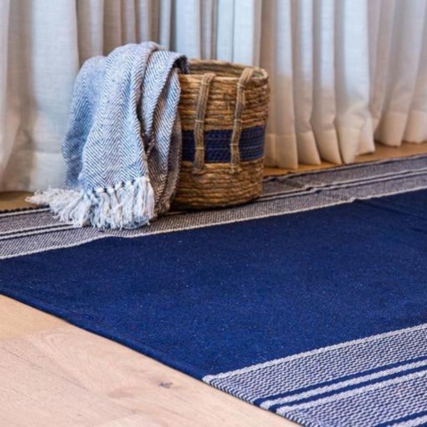 Woven Stripe Rugs - Navy offers at R 349